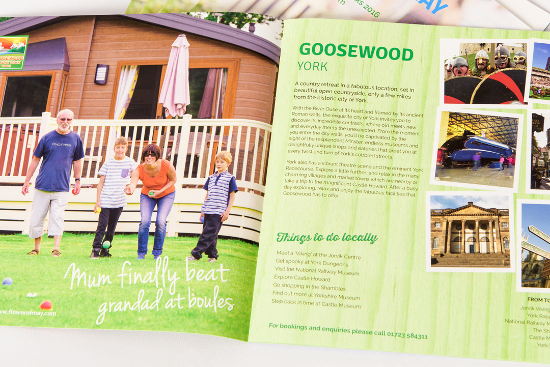 Flower of May holiday park brochure double page spread featuring Goosewood, York
