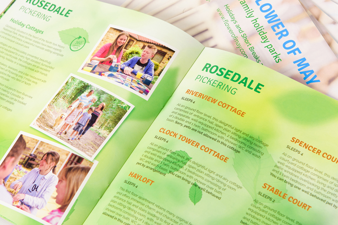 Flower of May holiday park brochure double page spread featuring Rosedale, Pickering