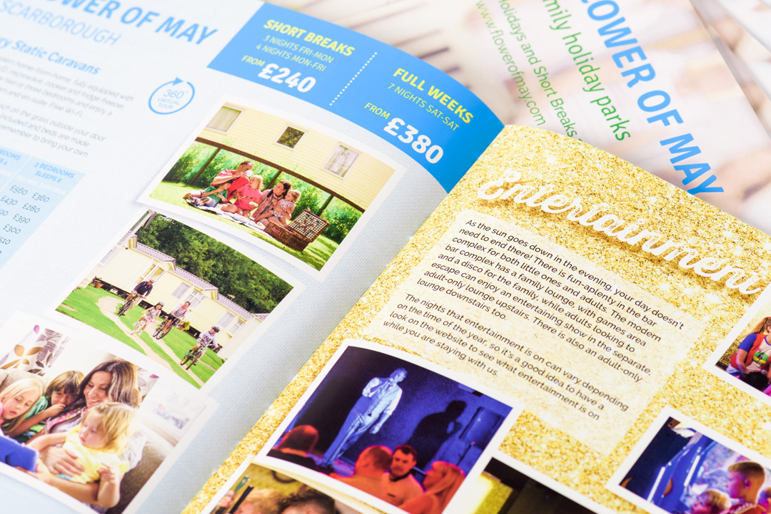 Flower of May holiday park brochure double page spread