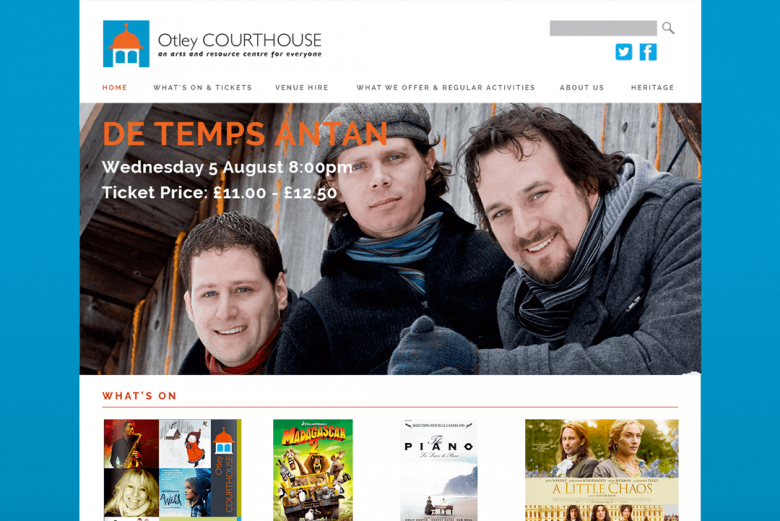 Homepage design for Otley Courthouse website