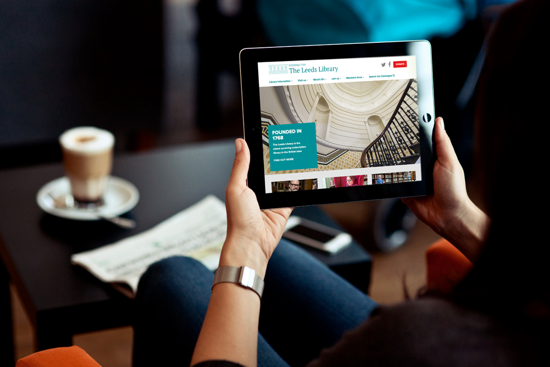 iPad displaying ecommerce website design for The Leeds Library