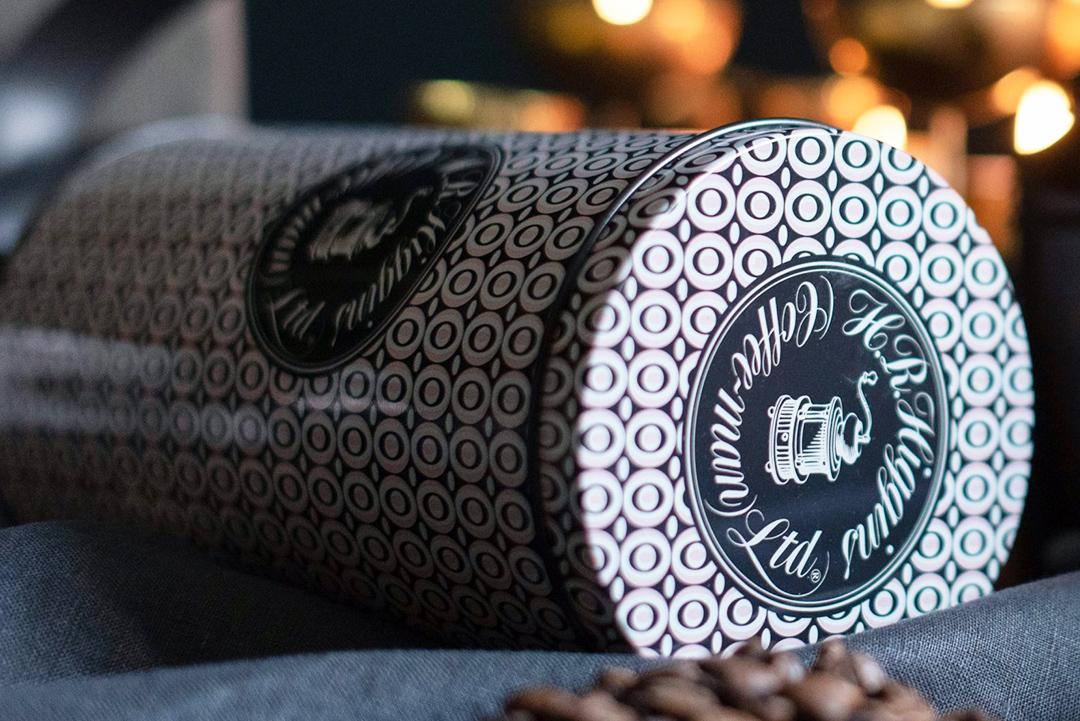 Coffee tin packaging artwork for HR Higgins (coffee-man) Ltd